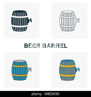 Beer Barrel icon set. Four elements in diferent styles from bar and restaurant icons collection. Creative beer barrel icons filled, outline, colored - Stock Photo