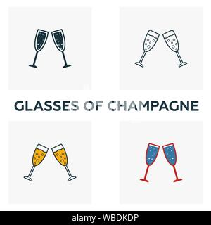 Glasses Of Champagne icon set. Four elements in diferent styles from bar and restaurant icons collection. Creative glasses of champagne icons filled - Stock Photo