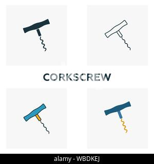 Corkscrew icon set. Four elements in diferent styles from bar and restaurant icons collection. Creative corkscrew icons filled, outline, colored and - Stock Photo
