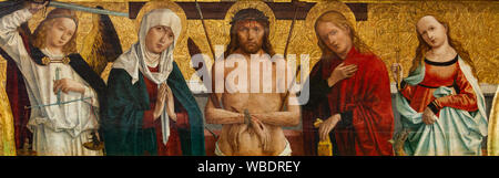 The painting of Vir Dolorum - the Crucifixion of Jesus. Jesus is flanked by the Virgin Mary, Saints John, Margaret and Michael (archangel). - Stock Photo
