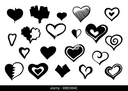 Heart hand drawn style. Doodle love icons set. Monochrome scribble sketch hearts sign. Valentines day pictogram collection. Simple black grunge vector - Stock Photo