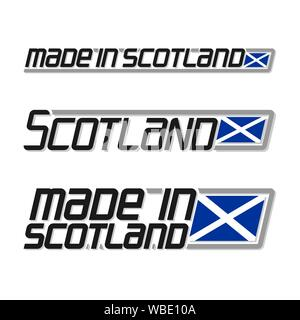 Vector illustration of logo for 'made in Scotland', consisting of three isolated flags drawings with scottish flag and text Scotland on white backgrou - Stock Photo
