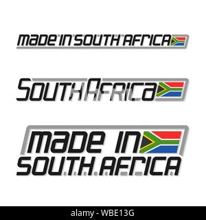 Vector text 'made in South Africa', three isolated national state flag and text south africa on white background. - Stock Photo