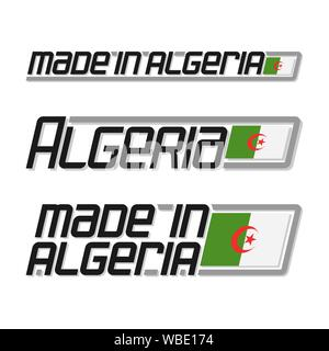 Vector text 'made in Algeria', three isolated algerian national state flag and text algeria on white background. - Stock Photo