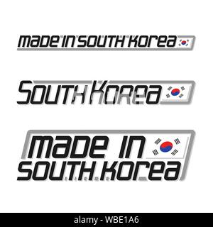 Vector illustration of logo 'made in South Korea', three isolated korean national state flag and text south korea on white. - Stock Photo