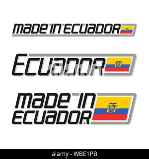 Vector illustration of logo 'made in Ecuador', set of isolated Ecuadorian national state flags and text ecuador on white background. - Stock Photo