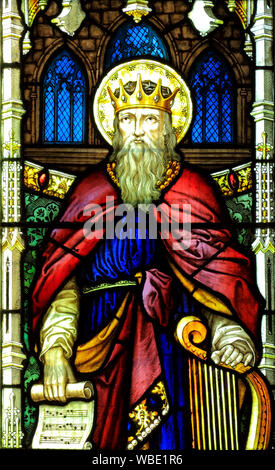 King David with Harp, stained glass window, by A.L.Moore 1910, detail,  Brinton church, Norfolk, England, UK - Stock Photo