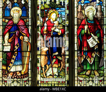 King David, Christ with lamb, King Solomon, stained glass window by A.L.Moore, 1910, Brinton, Norfolk, UK - Stock Photo