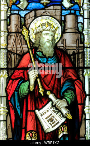 King Solomon, stained glass window, detail, by A.L.Moore, 1910, Brinton church, Norfolk, England, UK - Stock Photo