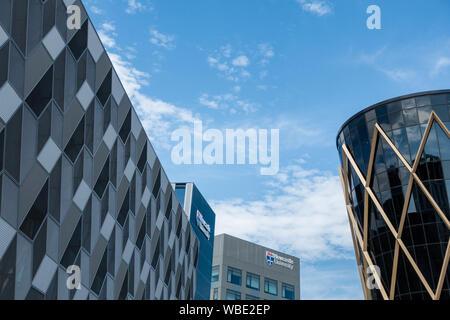 The Frederick Douglas Centre, Newcastle University (left) Newcastle Helix, Newcastle upon Tyne, England. UK - Stock Photo