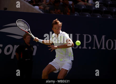 New York, USA. 26th Aug, 2019. Daniil Medvedev in action during his first round match against Prajnesh Gunneswaran of India on the first day of play at the US Open in Flushing Meadows, New York Credit: Adam Stoltman/Alamy Live News - Stock Photo