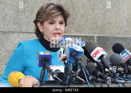 New York, USA. 26th Aug, 2019. Gloria Allred hold press conference after hearing new indictment involving Annabella Sciorra and move new trail date to January 6, 2020 in New York. Credit: MediaPunch Inc/Alamy Live News - Stock Photo