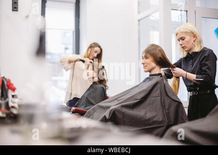 beautiful woman combing wet hair. stylist brushing woman hair in salon. Hairdresser Serving Customer. Professional Young Hairdresser Working With Comb