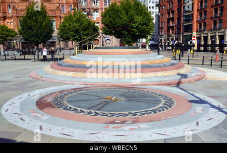 In 2019 a new Peterloo Memorial has been unveiled in Manchester, uk, on the site where the Peterloo massacre took place in 1819. - Stock Photo