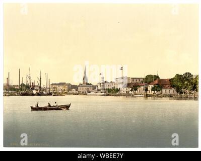 From new lighthouse, Swinemunde, Pomerania, Germany (i.e., Świnoujście, Poland) - Stock Photo