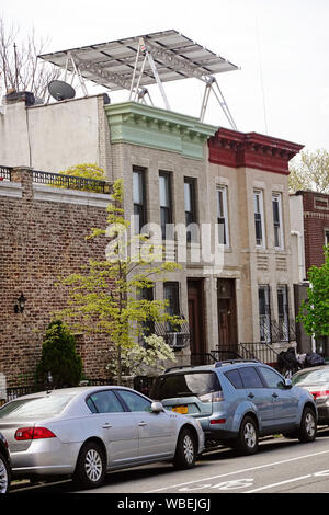 canopy solar system on house roof in Windsor Terrace Brooklyn New York city