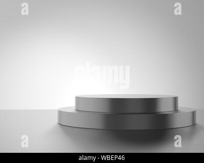 Empty podium isolated on gray background. - Stock Photo