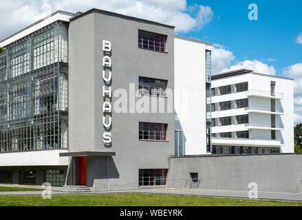 Bauhaus Dessau exterior. The Bauhaus building in Dessau Germany, Designed by Walter Gropius in 1925 1926. Unesco World Heritage site. - Stock Photo