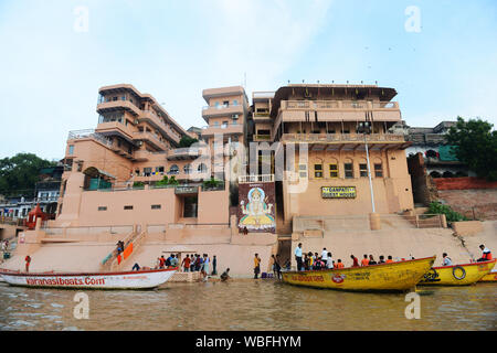 Ganpati guest house on Meer Ghat in Varanasi, India. - Stock Photo