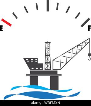 Concept design for offshore oil rig platform with fuel gauge meter - Stock Photo