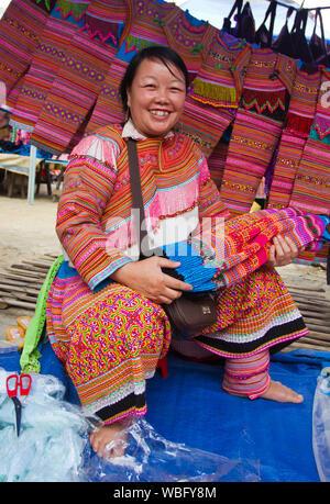 Sapa, Vietnam - Oct 22, 2011: Woman sells cloth in Bac Ha Market - Stock Photo
