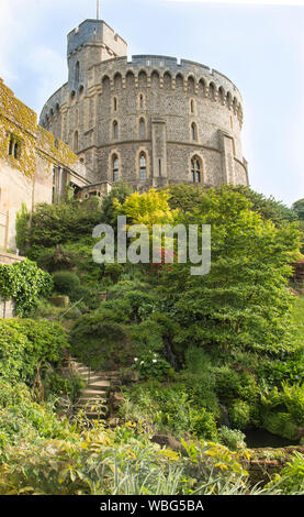 Round Tower, Windsor Castle, The Keep England primary royal residence, Vertical format - Stock Photo