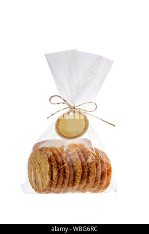 Cookies in package isolated on white background. Sweet biscuits. Homemade pastry. - Stock Photo