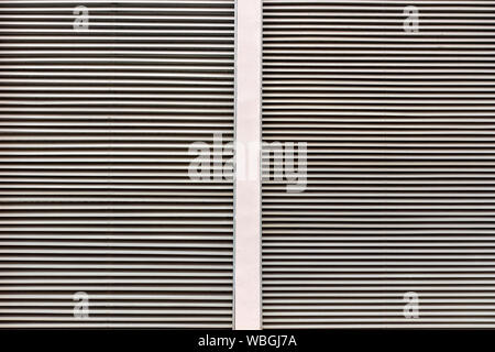 Battens for sun protection. Long horizontal battens pattern. Paneling wall texture. - Stock Photo