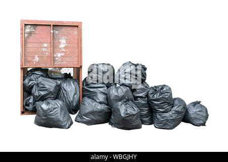Pile of black garbage isolated on white background. Pile of garbage plastic black and trash bag waste many - Stock Photo