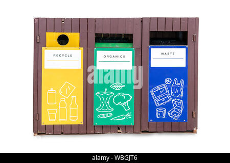 yellow,green,blue recycle bins isolated on white background. Waste separation trash sign and symbol made of wooden. clipping paths - Stock Photo