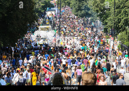 Notting Hill. London, UK. 26th Aug, 2019. Over a million revellers attend the 2019 Notting Hill Carnival, Europe's largest street party and a celebration of Caribbean traditions and the capital's cultural diversity. Credit: Dinendra Haria/Alamy Live News - Stock Photo