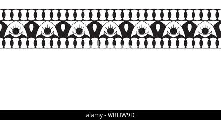 Geometric folklore ornament. Ethnic vector texture. Decorative ribbon in vintage style. Monochrome illustration. EPS10 - Stock Photo