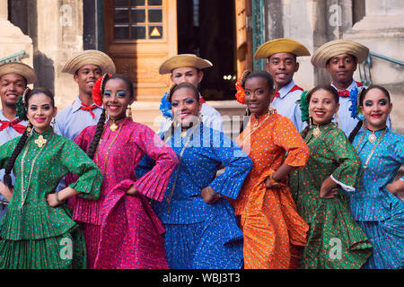 Panama Folklore group in local costume posing during the costume show of Etnovyr Festival in street of Lviv, Ukraine - August 23, 2019 - Stock Photo