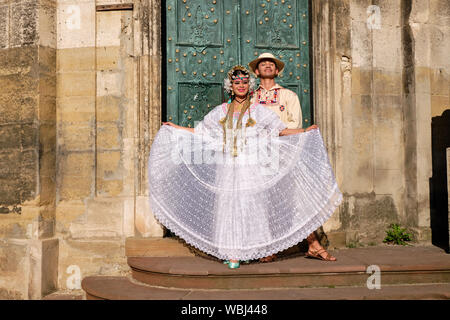 Member of Panama Folklore group in local costume during fashion show of Etnovyr Festival in street of Lviv. Ukraine - August 24, 2019 - Stock Photo