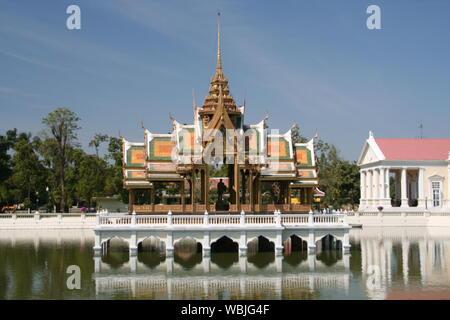Lake  By Bang Pa-in Royal Palace Against Sky - Stock Photo