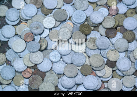 Old Turkish money at the antique shop in Istanbul, Turkey. - Stock Photo