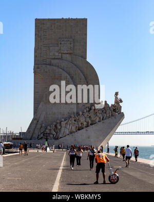 Monument to the Discoveries, Belem, Lisbon, Portugal - Stock Photo