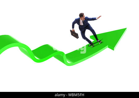 The businessman riding skateboard on financial graph - Stock Photo