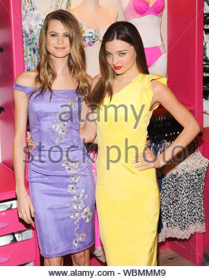 New York, NY - Miranda Kerr and Behati Prinsloo show off the new Victoria's Secret Fabulous collection. The 29-year-old model and Behati, 23, displayed the new line of bras, bikinis, and a new fragrance at the introduction to the line. AKM-GSI, February 26, 2013 - Stock Photo