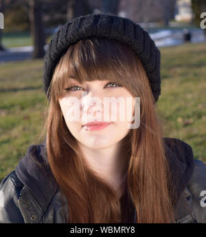 Close-up Portrait Of Teenager With Lip Piercing - Stock Photo