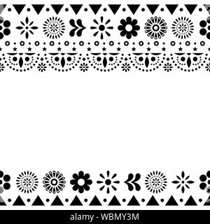 Mexican vector greeting card on invitaitons wtih flowers and abstract shapes in black and white - Stock Photo