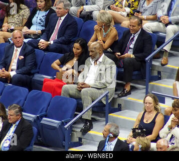 August 26, 2019, New York, New York, USA: Day One  of the U.S Open Tennis Championships held at The Arthur Ashe Stadium in Queens New York . .Serena Williams Vs. Maria Sharapova & Roger Federer Vs. Sumit Nagal. Former Heavyweight Boxing Champion Mike Tyson (Credit Image: © Bruce Cotler/Globe Photos via ZUMA Wire) - Stock Photo