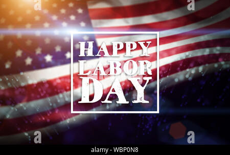 USA Labor Day greeting card with american flag background - Stock Photo