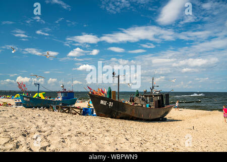 Fischerboote am Ostsee Strand von Misdroy / Miedzyzdroje, Insel Wolin, Westpommern,  Polen, Europa  |  fishing boats at the baltic beach in Miedzyzdro - Stock Photo