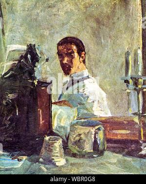 Henri de Toulouse Lautrec, (1864-1901), Self-portrait in front of a mirror, painting, 1882-1883 - Stock Photo