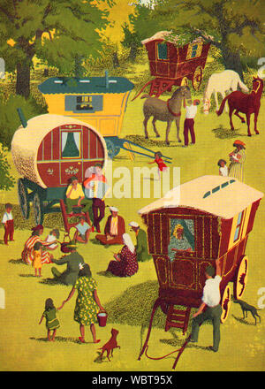 A 1940's Romantic colour illustration of a gypsy camp  with traditional horse-drawn wooden gypsy caravans,horses,dogs and people at leisure. - Stock Photo