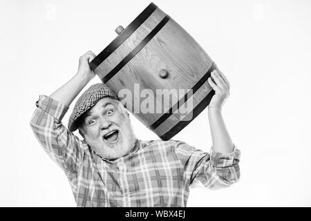 Man bearded senior carry wooden barrel for wine white background. Producing wine family tradition. Fermentation product. Natural wine made out of organic grapes. Winery concept. Homemade wine. - Stock Photo