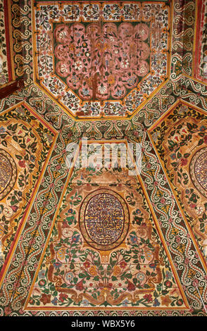 Ornated Painted Ceiling in the Bahia Palace Marrakesh, Morocco - Stock Photo