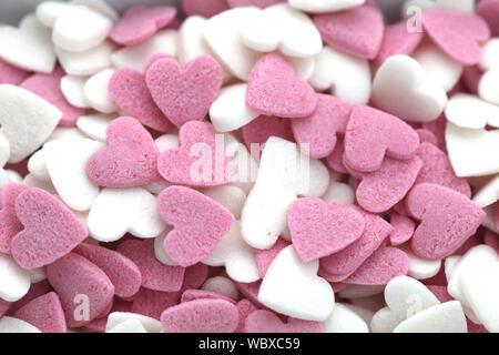 Full Frame Shot Of Heart Shaped Sweet Candies