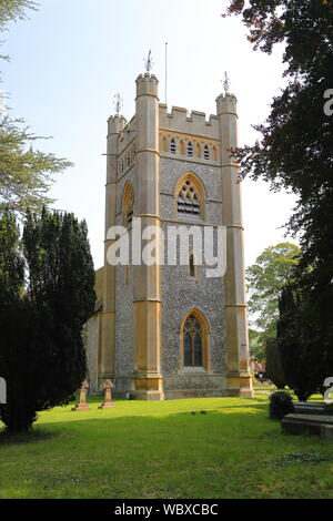 St Mary the Virgin church in Hambleden village, which has been used as a backdrop for several TV series like Midsummer murders in Buckinghamshire, UK - Stock Photo